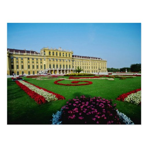 Red Formal gardens at entrance to Schonbrunn Palac Postcards