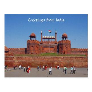 red fort delhi postcard