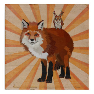 RED FOX & ANTLER OWL ACRYLIC PRINT