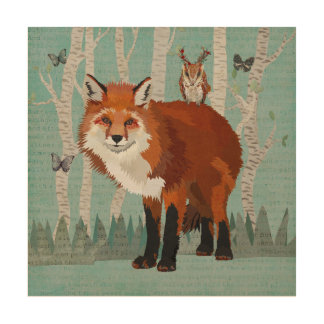 RED FOX & ANTLER OWL FOREST Wooden Canvas Wood Print