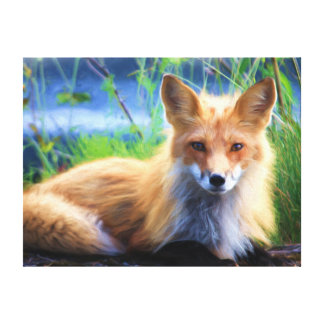 Red Fox Beautiful From A Watercolour Painting Canvas Print