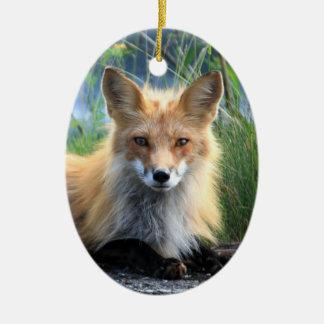 Red fox beautiful photo portrait ornament, gift ceramic ornament