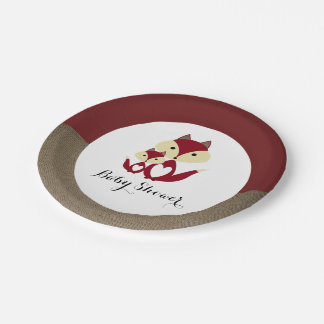 Red Fox Burlap Baby Shower 7 Inch Paper Plate