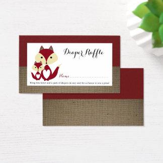Red Fox Burlap Baby Shower Diaper Raffle Ticket