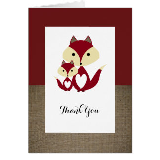 Red Fox Burlap Baby Shower Thank You Card