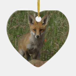Red Fox Ceramic Heart Decoration