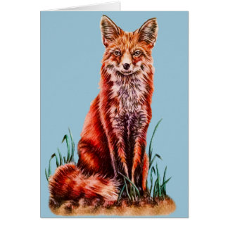 Red Fox Drawing Animal Art Pencil Sketch Foxy Greeting Card