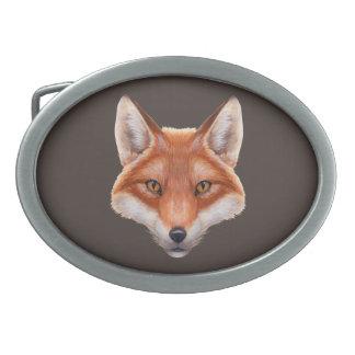 Red Fox Face Oval Belt Buckle