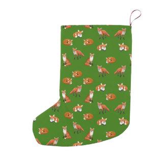Red Fox Family Christmas Stocking Verde