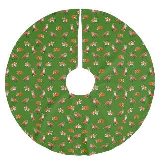Red Fox Family Christmas Tree Skirt Green