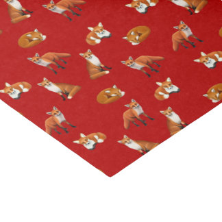 Red Fox Family Tissue Paper Cranberry