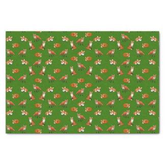 Red Fox Family Tissue Paper Green