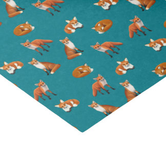 Red Fox Family Tissue Paper Teal