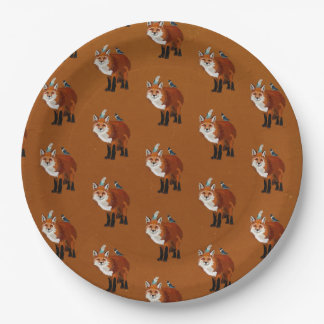 RED FOX & FEATHERS PAPER PLATE