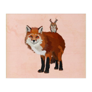 RED FOX & FLORAL ANTLER OWL ACRYLIC WALL ART