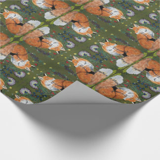 Red Fox Folk Art Tiled Wrapping Paper Grapes Green