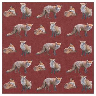 Red Fox Frenzy Fabric (Burgundy)