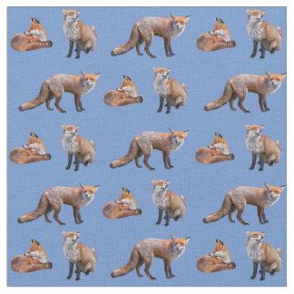 Red Fox Frenzy Fabric (Light Blue)