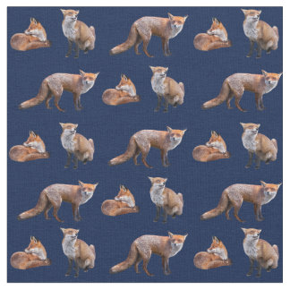 Red Fox Frenzy Fabric (Navy)