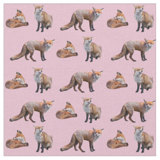 Red Fox Frenzy Fabric (Pink)