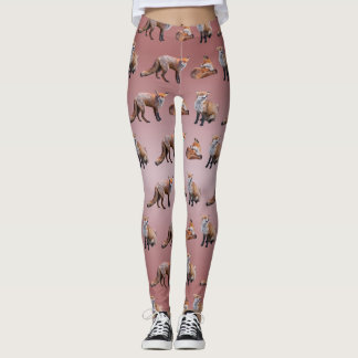 Red Fox Frenzy Leggings (Dusty Pink Mix)