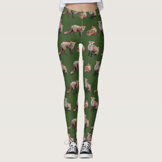 Red Fox Frenzy Leggings (Green)