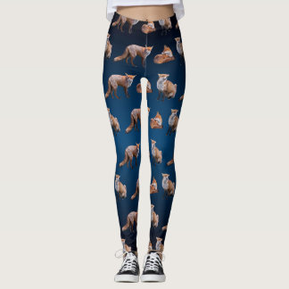 Red Fox Frenzy Leggings (Navy Blue Mix)
