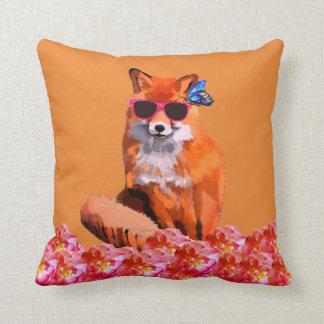 Red fox Funny Cute Art  Throw Pillow