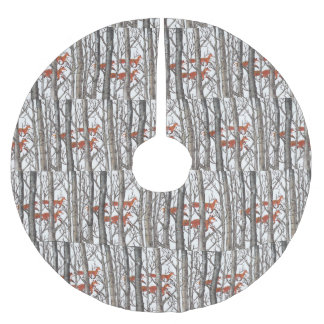 Red Fox Gray Forest Woods Christmas Tree Skirt