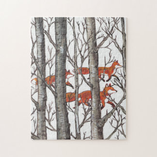 Red Fox Gray Forest Woods Jigsaw Puzzle Difficult
