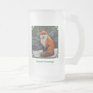 Red Fox in Falling Snow Frosted Glass Beer Mug