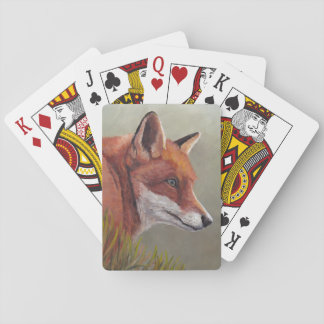 Red Fox in Grass Wildlife Art Playing Cards