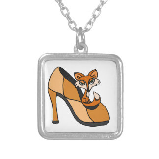 Red Fox in High Heel Shoe Art Square Pendant Necklace