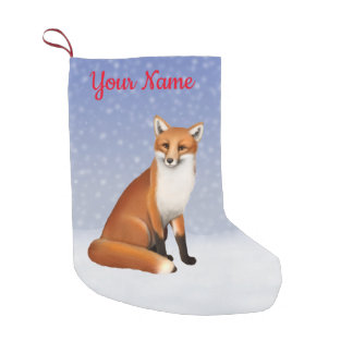 Red Fox in Snow Christmas Stocking