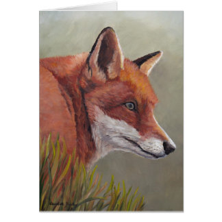 Red Fox in the Grass Animal art Note Card
