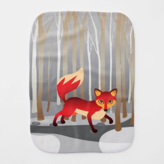 Red Fox in Winter Woods Burp Cloth