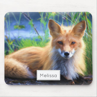 Red Fox Laying in the Grass Scenic Personalized Mouse Pad