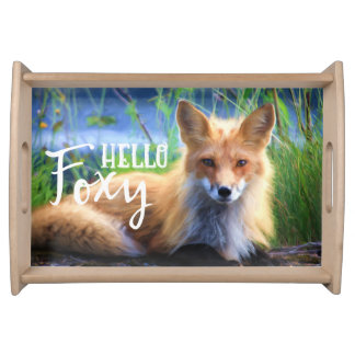 Red Fox Laying in the Grass Scenic Wildlife Serving Tray