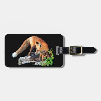 Red fox luggage tag