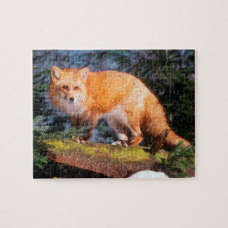 Red Fox on a log Jigsaw Puzzle