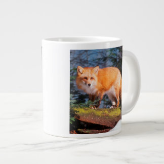 Red Fox on a log Large Coffee Mug