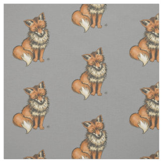 Red fox on grey background fabric