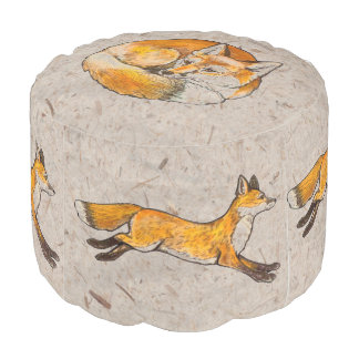 Red Fox Ottoman Tan Parchment Designer Seating