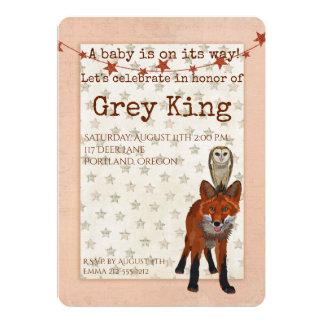 RED FOX & Owl Baby Invitation