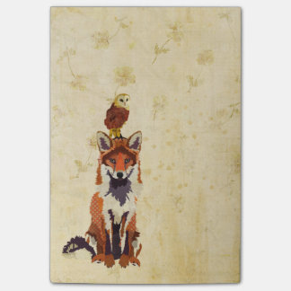 Red Fox & Owl Post It Note Sticky Note