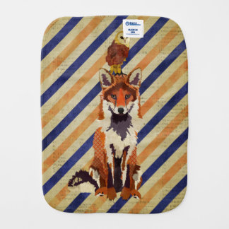 Red Fox & Owl Stripes Burp Cloth
