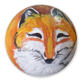 Red Fox Painting Drawer Door Cabinet Knob Pull