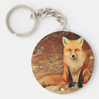 Red Fox Painting Key Ring