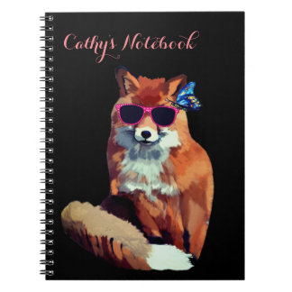 Red Fox Photo Notebook personalized Initials
