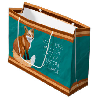 Red Fox Retro Style Custom Gift Any Occasion Large Gift Bag